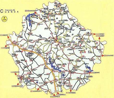 Mapa Provincia De Cuenca España.Mapa De Cuenca Y Sus Pueblos Mapa