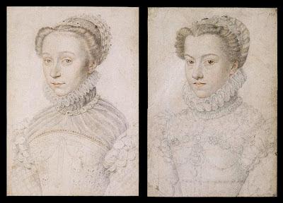 François Clouet sketches of Elizabeth of Austria and Elizabeth of France