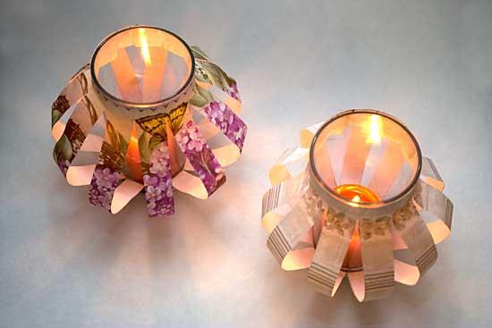 Castiçais decorados com papel estampado e reciclagem de vidro