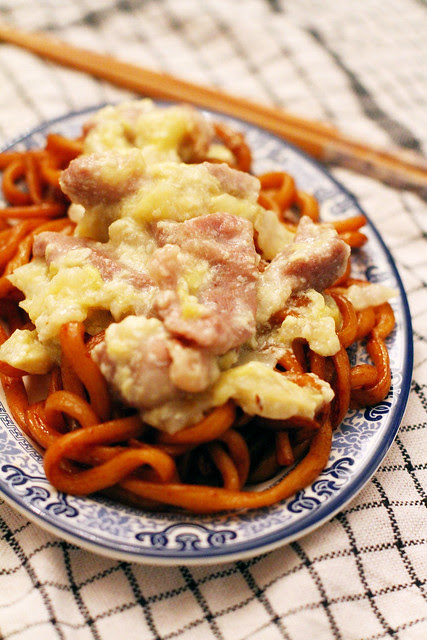 Udon Goreng Siram Telor - Fried Udon with Meat & Egg Topping