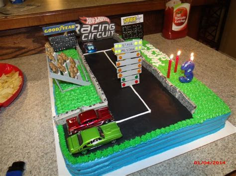 Homemade hotwheels drag strip cake! Track is made from