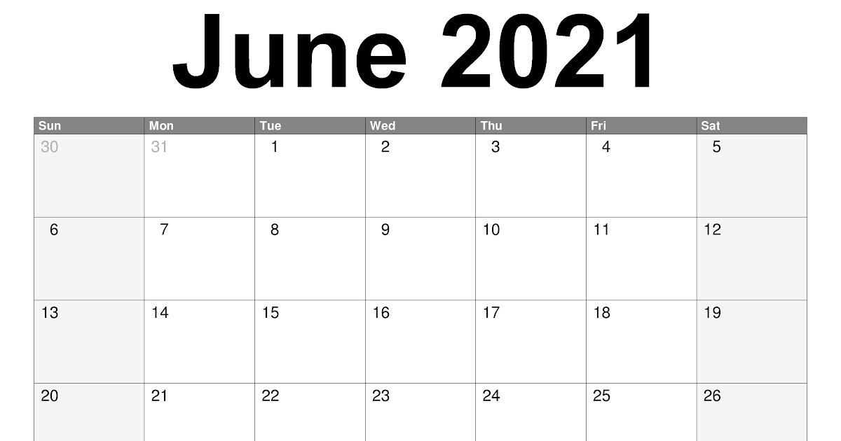 Monthly Calendar June 2021 | 2021 Calendar