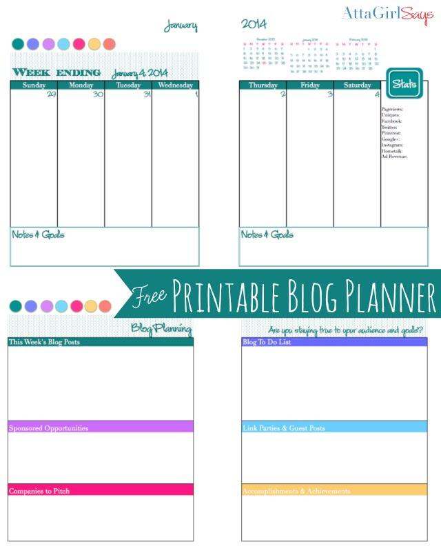2014 Free Printable Daily Planner & Blog Calendar - Atta Girl Says