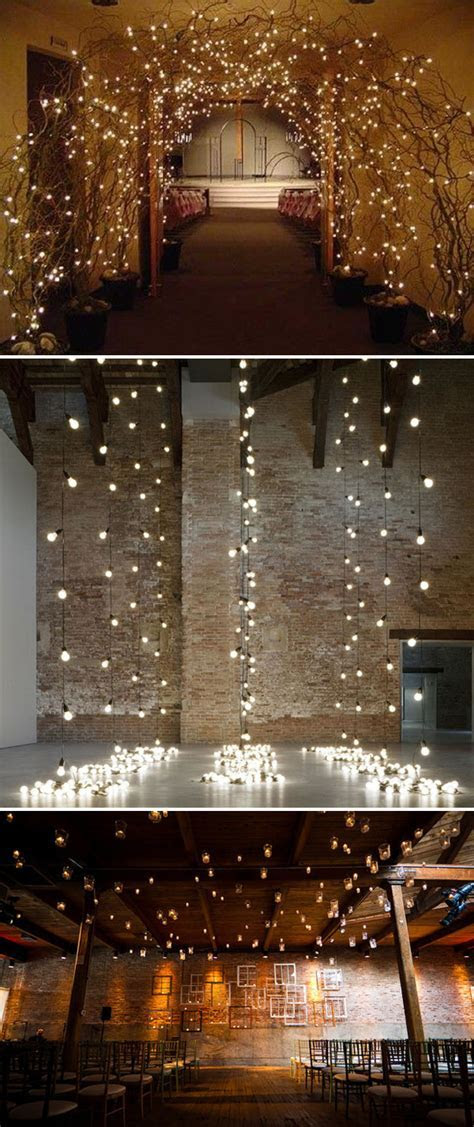 Lights as ceremony backdrop nice wedding decoration   PinPoint