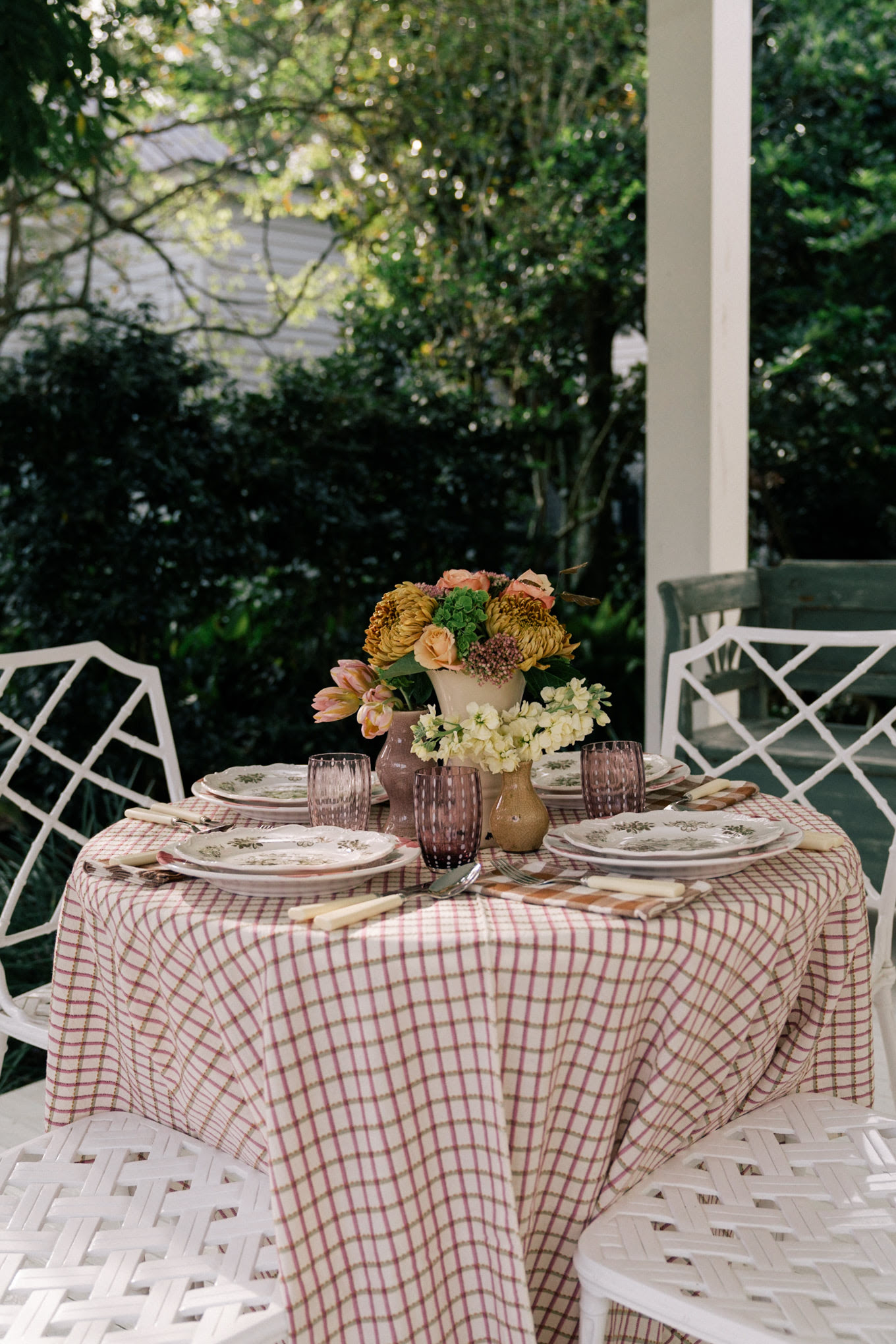 fall floral table setting