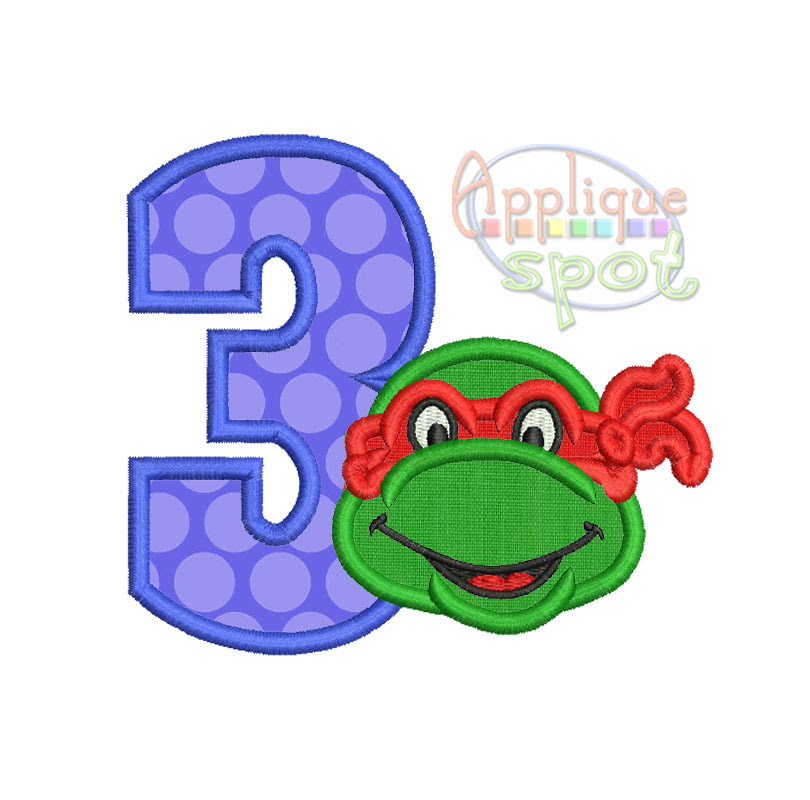 Ninja Turtle Birthday Numbers Set 1 To 9 Applique Spot