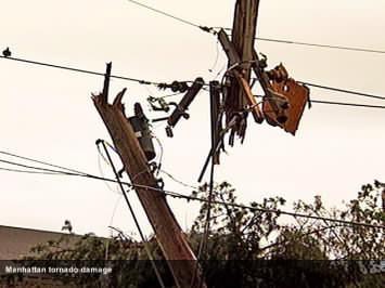 tornado damaged telephone pole in Manhattan, KS