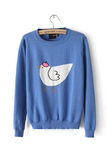Chicken Jacquard Round Neck Sweater