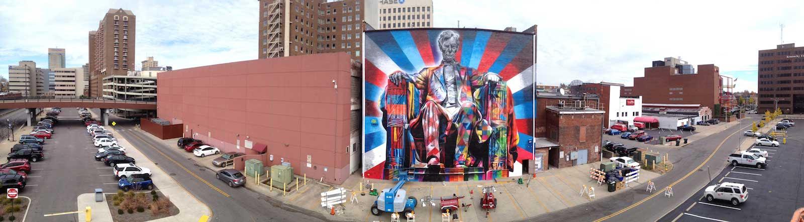 Street Art por Eduardo Kobra de Abraham Lincoln, em Kentucky, EUA 564789