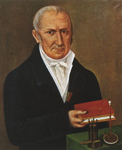 Painting of Volta with a objects on a table and a book in his hand