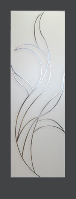 Decorative Glass Interior Doors Feature A Fire Pattern Acid Etched
