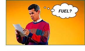 Man not understanding 'fuel'