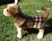 Dog Jacket -  Fleece Plaid Dog Coat- XX Small- 8 to 10 Inch Back Length - Or Custom Size