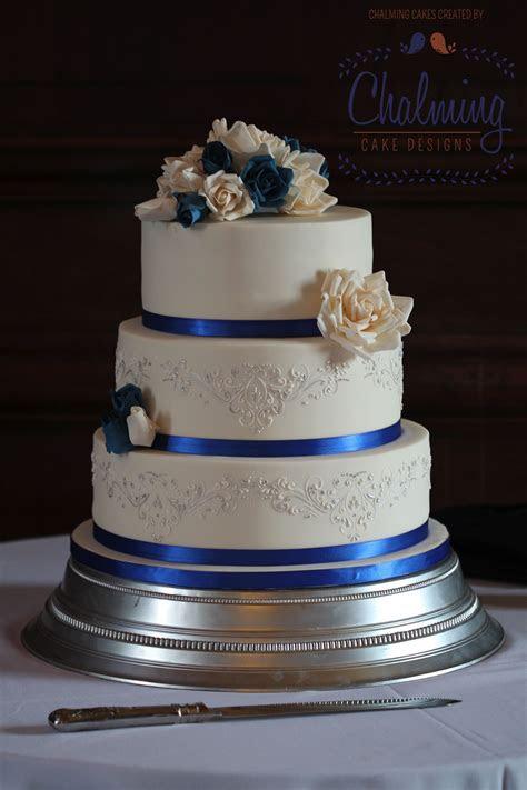 Royal Blue, Ivory & Silver Wedding Cake. Ivory and royal