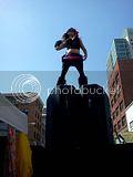 How Weird Street Fair, 05.13.2012 Dancer atop speakers at How Weird Street Fair.
