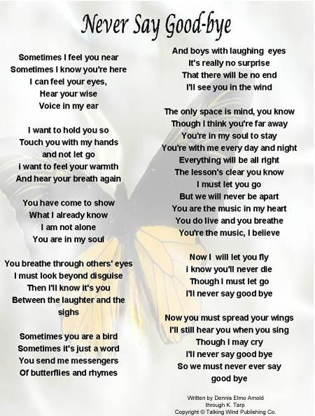Never Say Goodbye Original Memorial Song From Song Legacy
