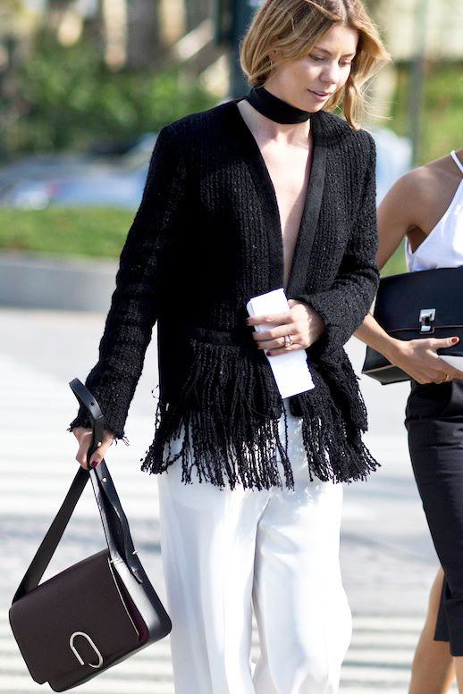 Le Fashion Blog Nyfw Street Style Black And White Look Wide Choker Fringe Detailed Jacket 3.1 Phillip Lim Bag Flowy Trousers Via Style Caster