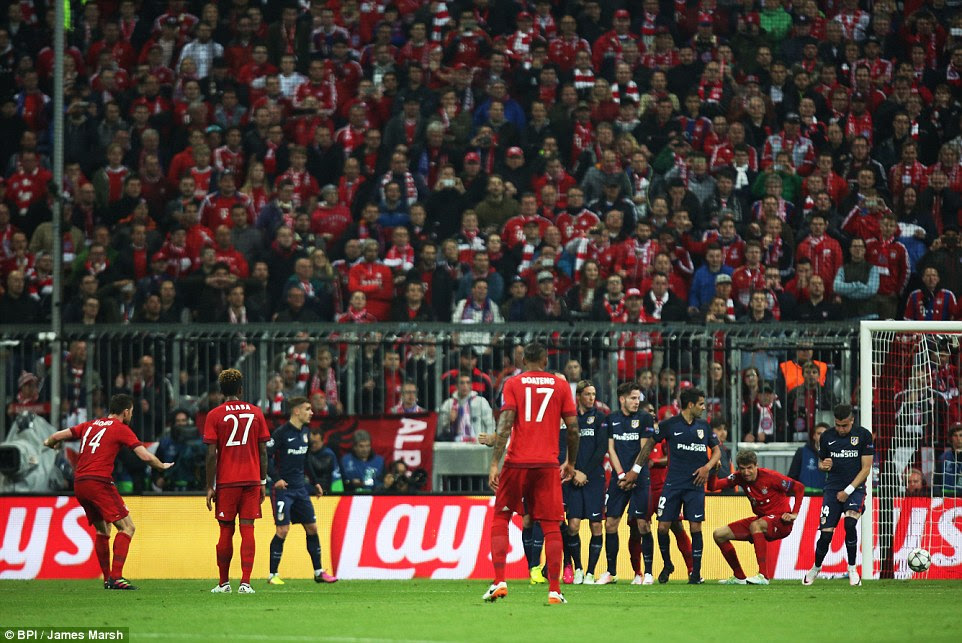 The former Liverpool midfielder saw his low free-kick deflect off Jose Gimenez and end up in the back of the Atletico net