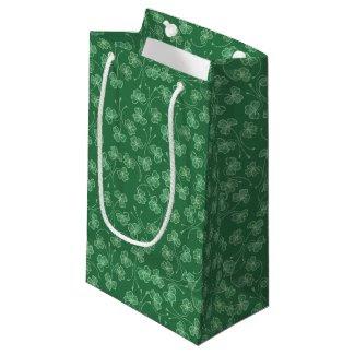 Dark Green Shamrocks Pattern Small Gift Bag