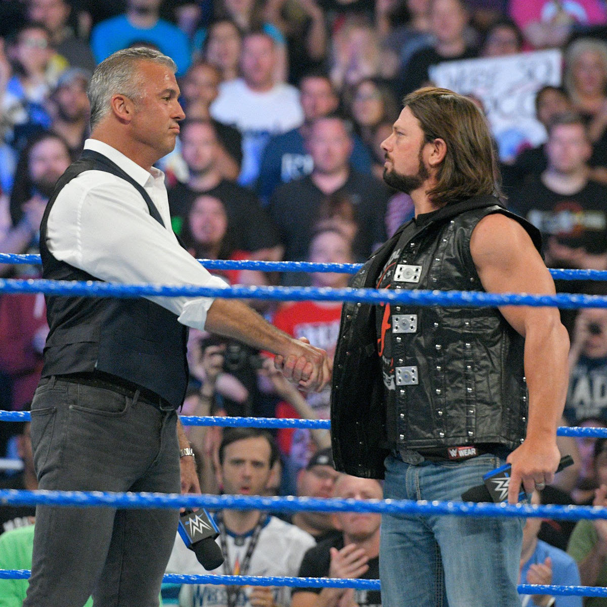 Shane and Styles shake hands two days after their epic clash at The Ultimate Thrill Ride.