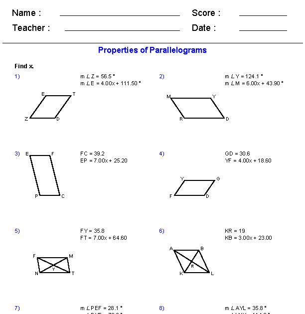 Properties Of Parallelograms Worksheet Answer Key - worksheet