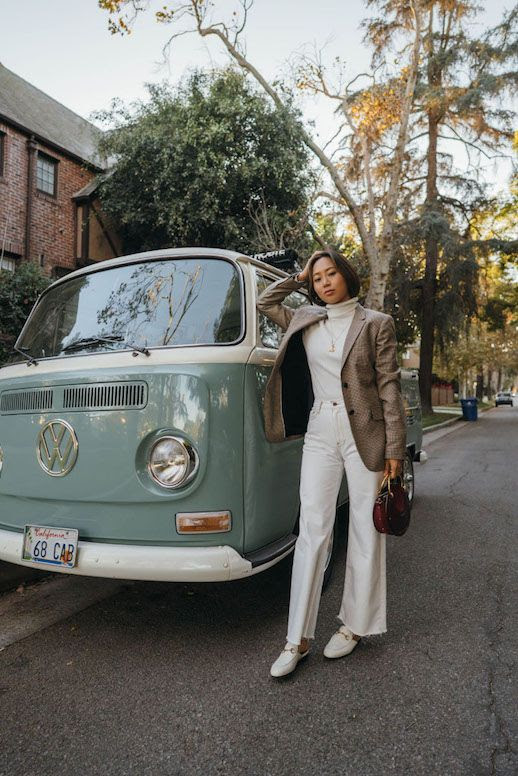 Le Fashion Blog Winter Whites Houndstooth Blazer White Turtleneck White Straight Leg Jeans White Loafers Gucci Via Song Of Style