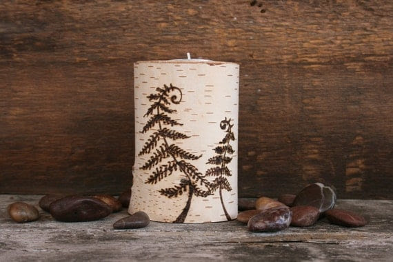 Woodland Fern - Tealight Candle Holder - Woodburning on Birch