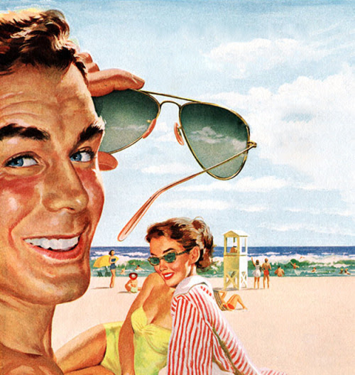 Sunglasses - detail from 1952 Ray Ban Sunglasses ad.