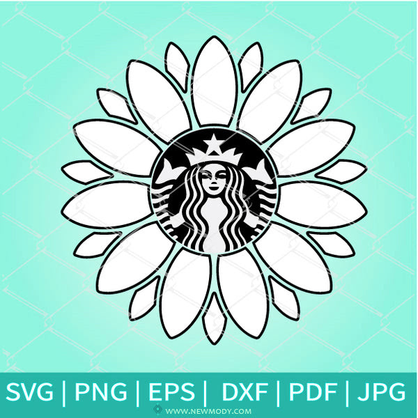 Download Sunflower Frame Strabucks SVG - Flower Monogram SVG ...