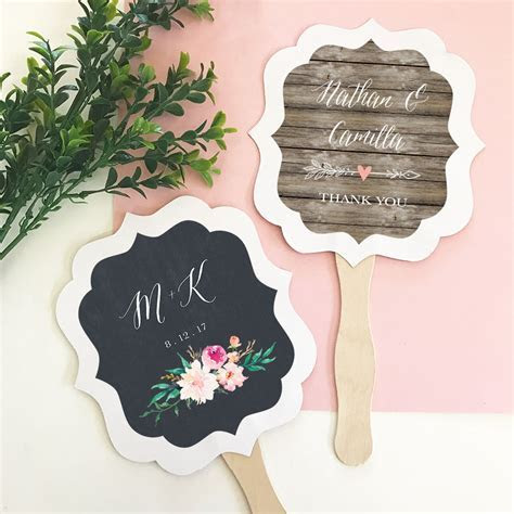 Personalized Paddle Fan Wedding Favors   Garden Wedding Theme