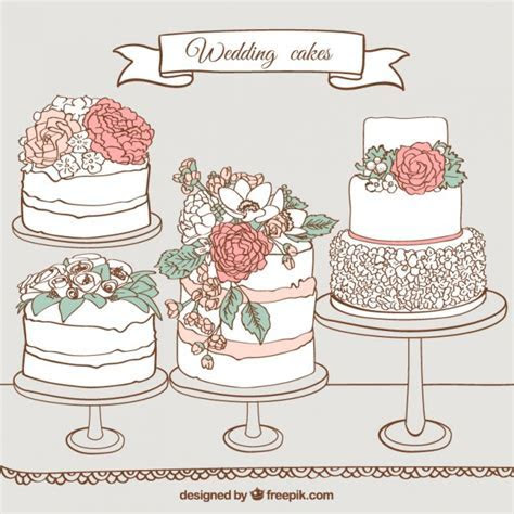 Hand drawn wedding cakes Vector   Premium Download