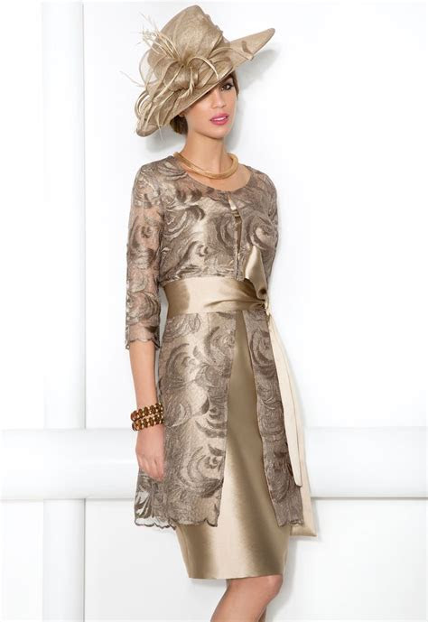 cabotine soft gold shimmer dress  lace frock coat style
