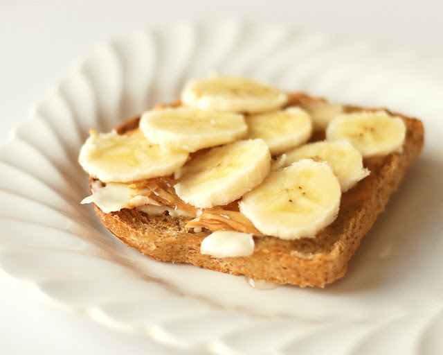 {88/365} -- Toast + butter + peanut butter + honey + bananas = yum!