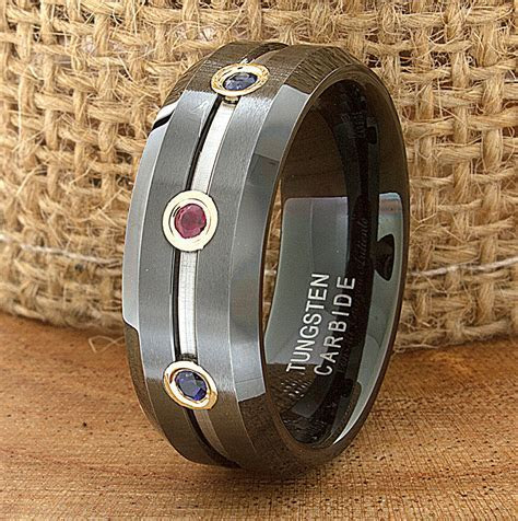 Ruby Sapphire Tungsten Wedding Band Ring Flat Beveled