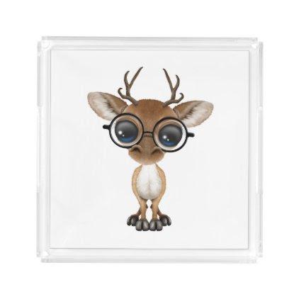 Nerdy Baby Deer Wearing Glasses Acrylic Tray