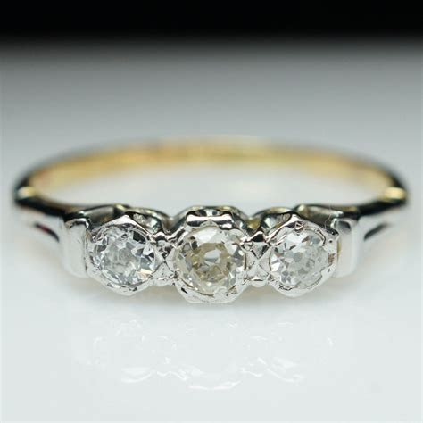 Vintage Dainty Diamond Ring Unique Engagement Ring Mixed