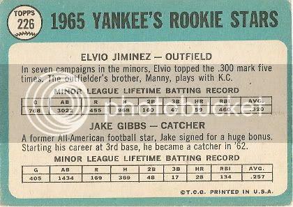 #226 Yankees Rookie Stars: Elvio Jimenez and Jake Gibbs (back)