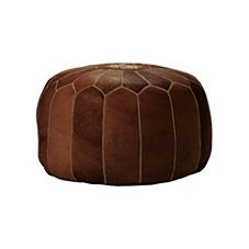 Tan Moroccan Leather Pouf