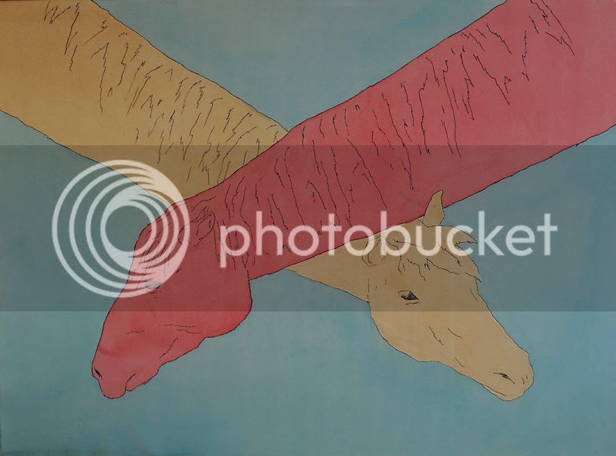 Cous croiss, dessin de pierre guilhem aquarelle et mine de plomb deux chevaux avec de longs cous dessin aux couleurs des hraldiques rouge bleu or jaune cela dit cela reste un dessin contemporain 2012