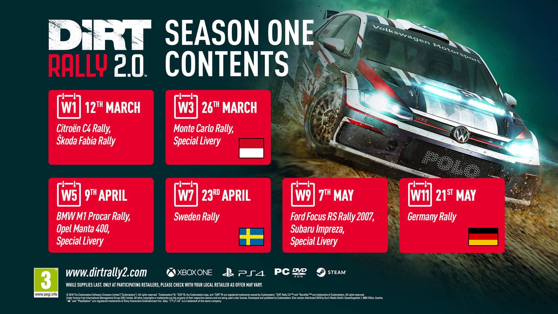 Season One Content Revealed For Dirt Rally 20 Codemasters Blog