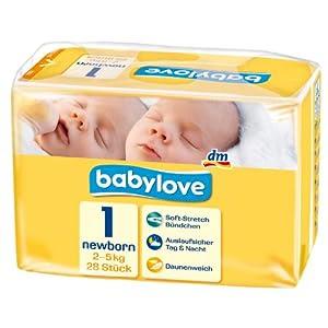 Babylove Windeln Größe Newborn 2-5 kg, 2er Pack (2 x 28 Stück)
