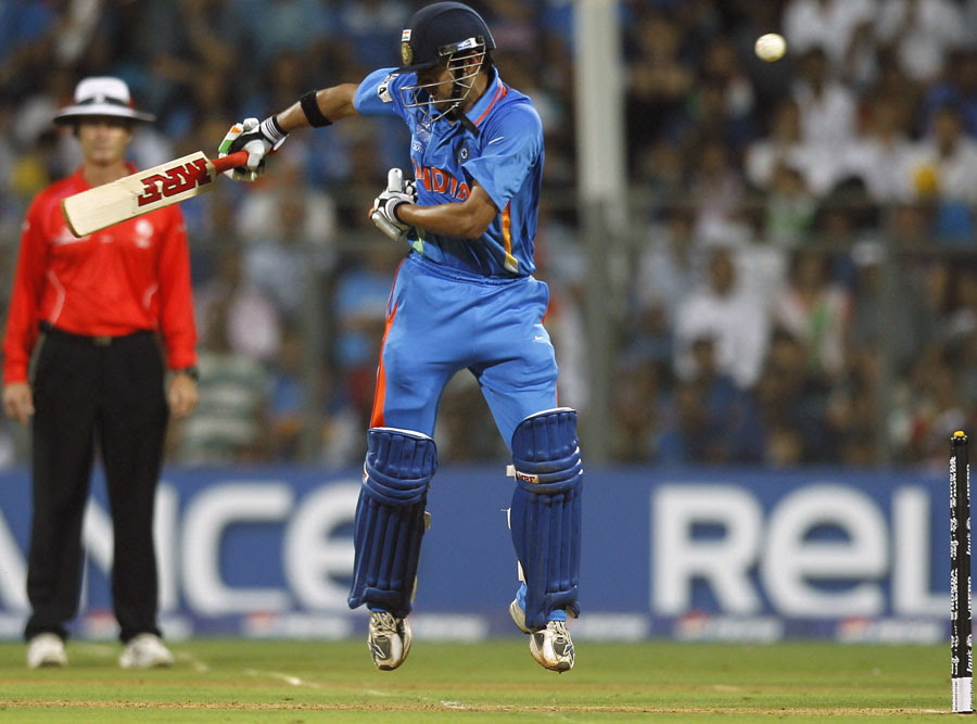 Gautam Gambhir manages to fend a short delivery away