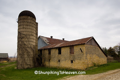Stone Barn and Silo, Ogle County, Illinois