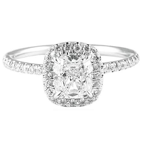 1.20 CT CUSHION CUT DIAMOND WHITE GOLD ENGAGEMENT RING