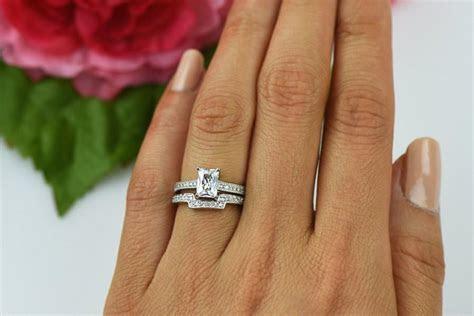 1.5 Ctw Emerald Radiant Engagement Ring, Contour Wedding