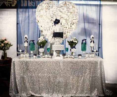 Blue, White, Silver and plenty of shine Wedding Party