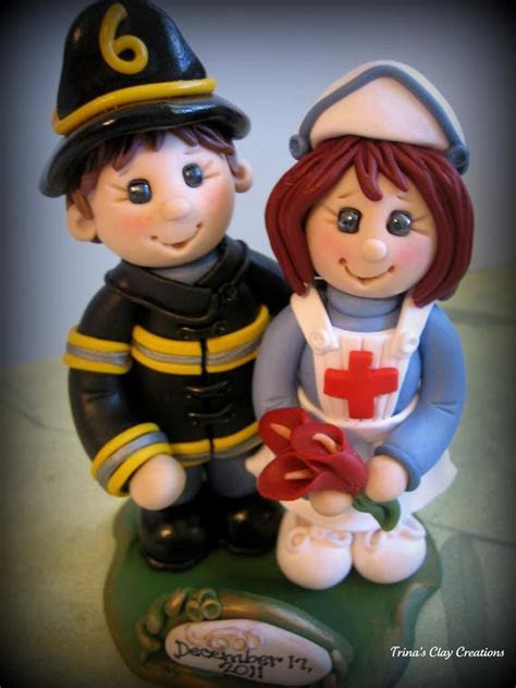 Wedding Cake Topper Custom Fireman and Nurse Firefighter