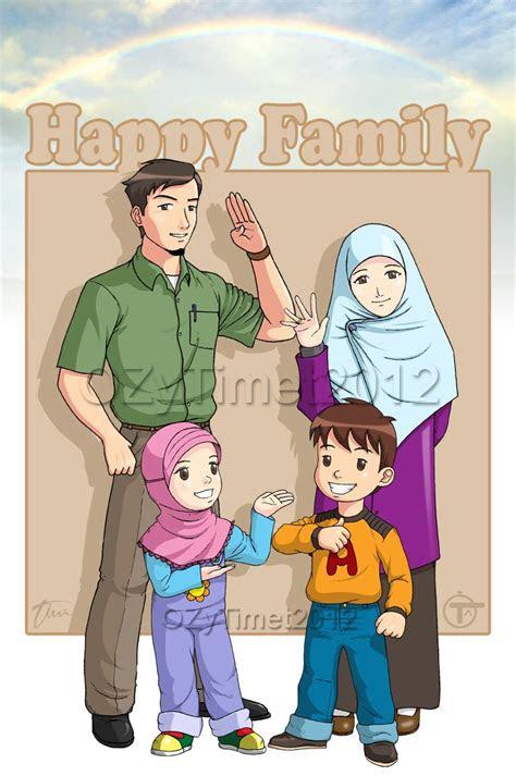 happy family kartun dakwah islam kumpulan gambar
