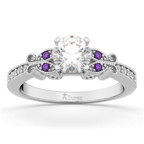 Butterfly Diamond & Amethyst Engagement Ring 14k White