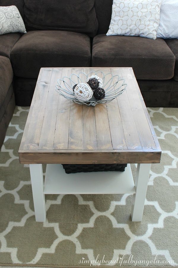 What a beautiful planked coffee table made from an affordable Ikea piece!